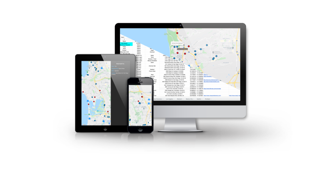 Multiple device presentation of Google Sheets and Map website